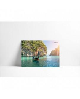 Cuadro en carton pluma P007 Barca en Lago Turquesa