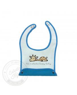 Babero PickUp Lazzy Giraffe Blanco y Azul