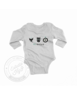 Body Bebe Manga Larga Wild Animals Menta Personalizado