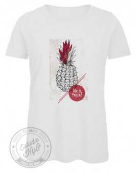 Camiseta Life Is Punk Algodón Orgánico Corte Entallado