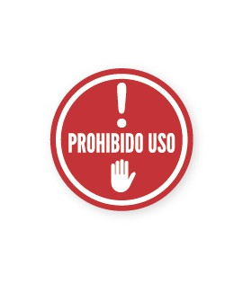 """Señalización Cartelería """"Prohibido Uso"""" Redondo"""