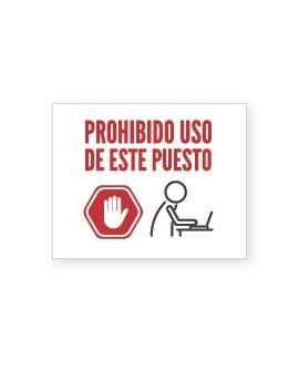 """Señalización Cartelería """"Prohibido Uso Puesto"""""""