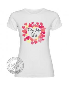 Camiseta Feliz Vida Mamá Corte Entallado