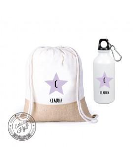 Set Mochila + Botella Estrella Personalizada