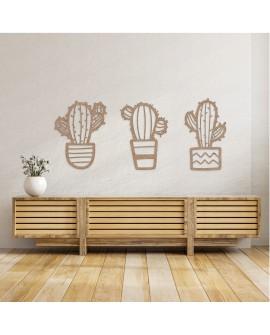 Set 3 Cactus de Madera Natural