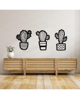 Set 3 Cactus de Madera Negro Mate